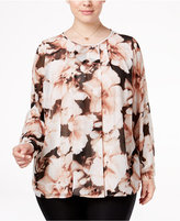 Calvin Klein Plus Size Printed Pleated Top