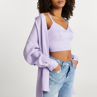 River Island Womens Purple RI monogram bralet top