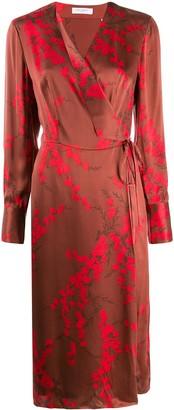 Equipment Cherry Blossom-Print Satin Wrap Dress