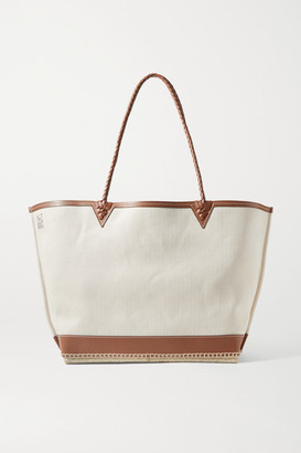 Altuzarra Espadrille Large Leather And Jute-trimmed Canvas Tote - Cream