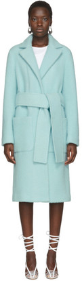 Helmut Lang Blue Wool Teddy Plush Belted Jacket