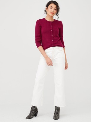 Very Supersoft Crew Neck Cardigan - Berry Red