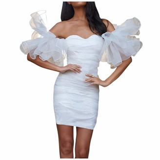 Your New Look Women's Mesh Patchwork Bandeau Dress Sleeveless Off Shoulder Mini Dress Bodycon Dress for Party Weddings Club Show White