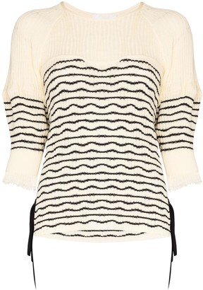 Chloé Tie-Side Striped Knit Sweater