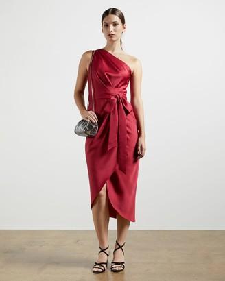 Ted Baker One Shoulder Drape Midi Dress