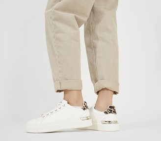 Office Fresh Lace Up Trainers White With Leopard