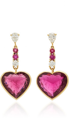 Yi Collection 18K Gold, Diamond, Rubellite and Ruby Earrings