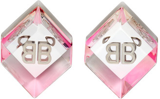Balenciaga Silver and Pink BB Cube Earrings