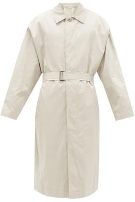 Lemaire Water-repellent Cotton-blend Overcoat - Mens - Light Grey