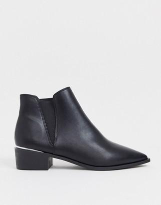 London Rebel western ankle boots in black