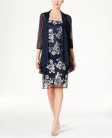 R and M Richards Floral-Embroidered Dress and Jacket