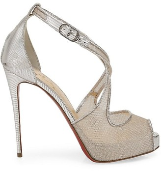 Christian Louboutin Mariacar Metallic Lizard-Embossed Leather & Mesh Platform Sandals