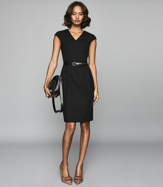 Reiss HARTLEY Tailored Wool Blend Dress Black