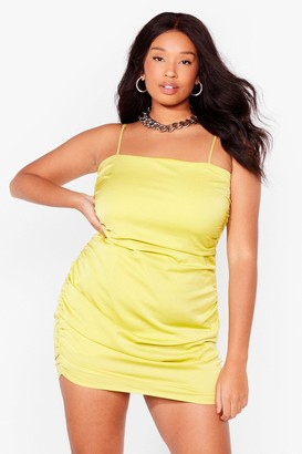 Nasty Gal Womens Be There in a Mini Plus Ruched Dress - Lime