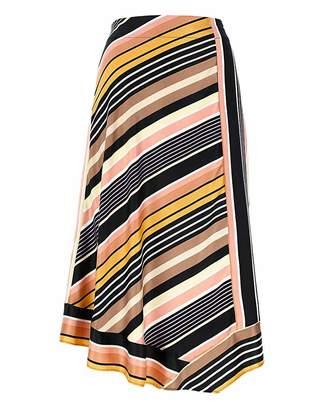 Marisota Stripe Dip Hem Satin Midi Skirt