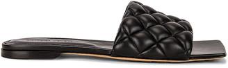 Bottega Veneta Flat Quilted Sandals in Black | FWRD