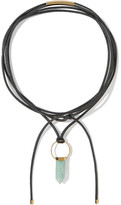 Isabel Marant Gold-tone, Leather And Stone Necklace - Black