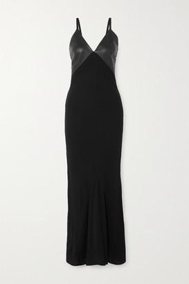 Haider Ackermann Leather-paneled Crepe De Chine Maxi Dress - Black