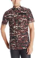 G Star Men's Powel Short Sleeve Button-Up Shirt In Mardot Camo Dk Fig