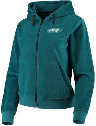 Women's Midnight Green Philadelphia Eagles Velour Suit Full-Zip Hoodie