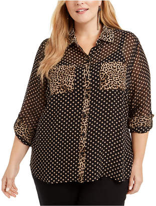 INC International Concepts Inc Plus Size Mixed-Print Sheer Blouse