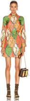 Gucci GG Rhombus Mini Dress in Salmon & Green   FWRD