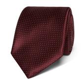 Canali 8cm Pin-dot Silk-jacquard Tie - Burgundy