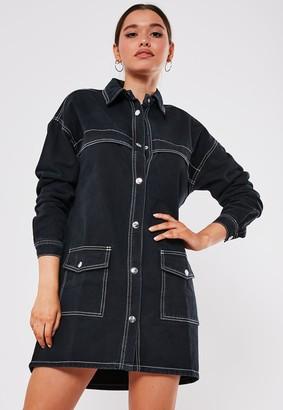 Missguided Black Contrast Stitch Utility Denim Mini Dress