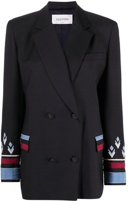 Valentino Embroidered Double-Breasted Blazer