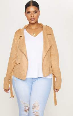 PrettyLittleThing Plus Tan Faux Suede Biker Jacket