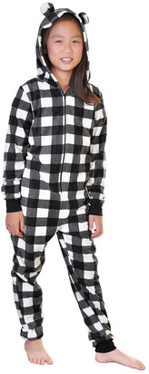 Angelina One-Piece Pajamas Black - Black & White Plaid Hooded One-Piece Pajama