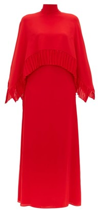 Valentino High Neck Silk Crepe Gown - Womens - Red