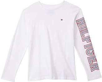 Tommy Hilfiger Dot Vertical Long Sleeve T-Shirt (Bid Kids) (Bright White) Boy's Clothing