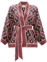 Gucci GG Ribbon-print Silk Wrap Top - Womens - Navy Multi