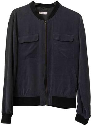 Equipment Blue Silk Jacket for Women