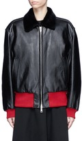 Calvin Klein Shearling collar leather jacket