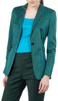 Akris Punto Striped One-Button Cotton-Stretch Blazer