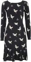 Wallis Petite Black Bird Printed Dress
