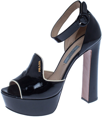 Prada Black Patent Leather Ankle Strap Platform Sandals Size 37