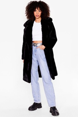 Nasty Gal Womens Happy Faux Fur You Longline Coat - Black