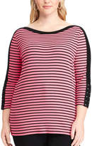 Chaps Plus Size Lace-Up Boatneck Top