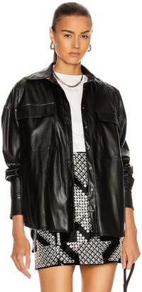 David Koma Faux Leather Oversized Shirt in Black | FWRD