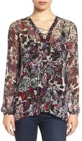 Lucky Brand Sheer Floral Print Lace-Up Peasant Blouse