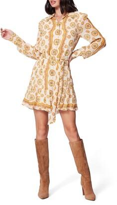 Paige Portofino Floral Long Sleeve Silk Shirtdress