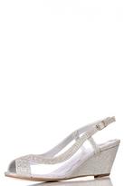 Quiz Silver Diamante Mesh Low Heel Wedge