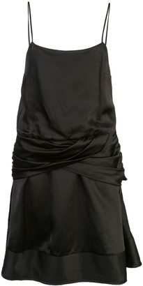 Derek Lam 10 Crosby Flounce Mini Satin Dress with Twist Waist Detail