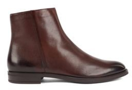 HUGO BOSS Italian Made Zipped Ankle Boots With Shearling Lining - Dark Brown