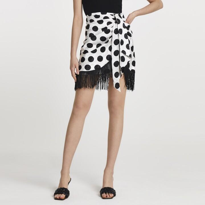 Thumbnail for your product : River Island Womens White polka dot fringe hem skirt