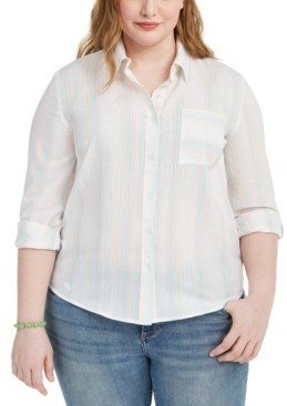 Style&Co. Style & Co Plus Size Striped Shirt, Created for Macy's