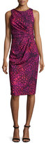 Badgley Mischka Sleeveless Printed Ruched Sheath Dress, Orchid/Multicolor